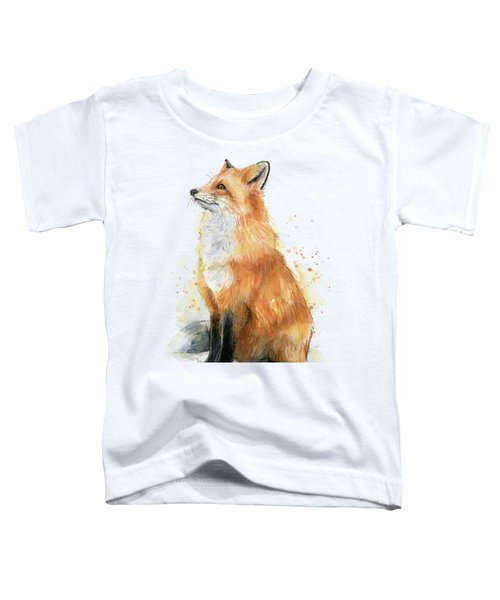 Red Fox Watercolor Pattern Toddler T-Shirt