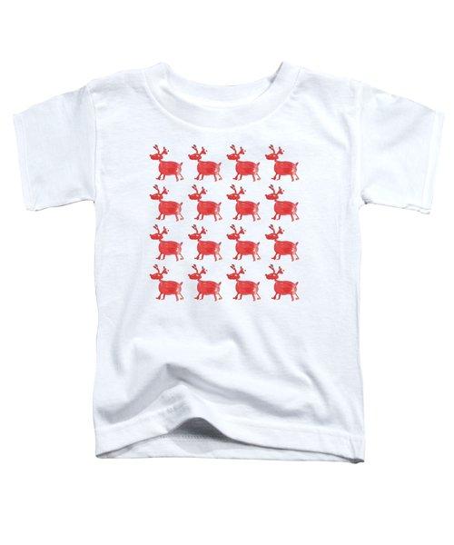 Red Reindeer Pattern Toddler T-Shirt