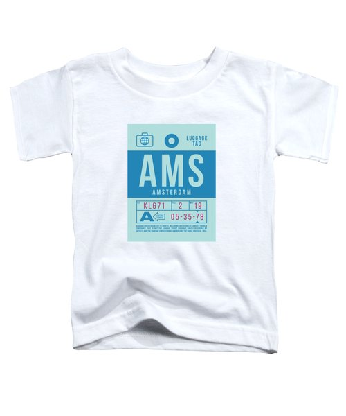 Retro Airline Luggage Tag 2.0 - Ams Amsterdam Netherlands Toddler T-Shirt