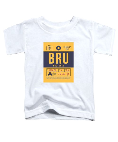 Retro Airline Luggage Tag 2.0 - Bru Brussels Belgium Toddler T-Shirt
