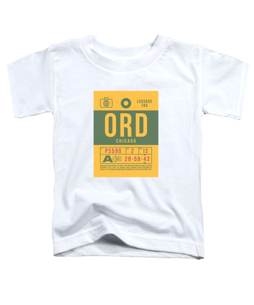 Retro Airline Luggage Tag 2.0 - Ord Chicago O'hare Airport United States Toddler T-Shirt