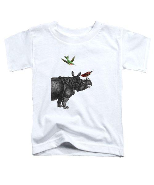 Rhinoceros With Birds Art Print Toddler T-Shirt