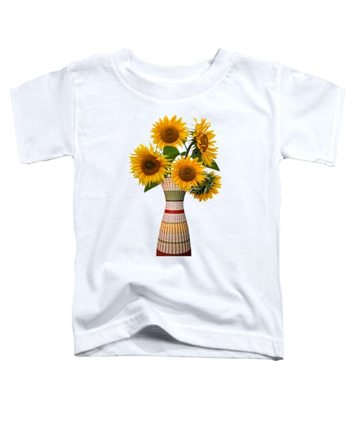 Rustic Flower Vase With Sunflowers Toddler T-Shirt