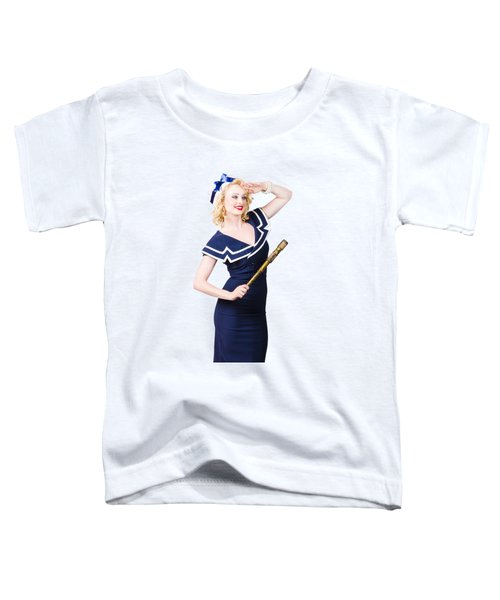 Sailor Girl Pin-up Looking Out To Sea Toddler T-Shirt