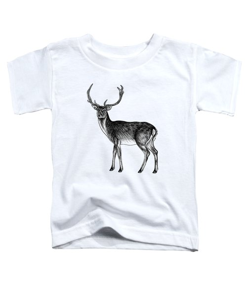 Sika Deer Stag - Ink Illustration Toddler T-Shirt