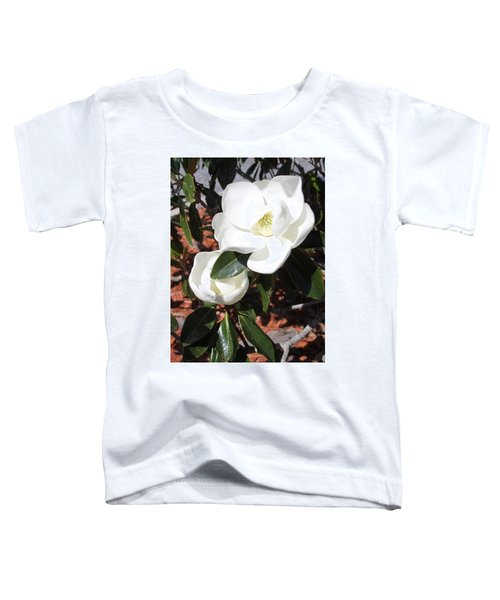 Snowy White Gardenia Blossoms Toddler T-Shirt