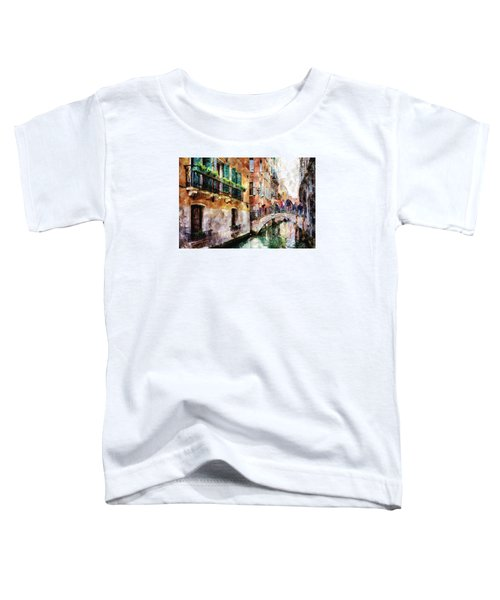 People On Bridge Over Canal In Venice, Italy - Watercolor Painting Effect Toddler T-Shirt