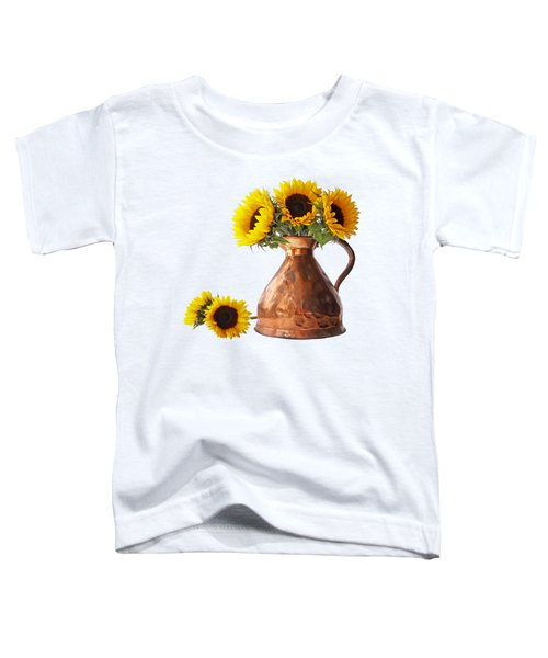 Sunflowers In Copper Pitcher On White Square Toddler T-Shirt
