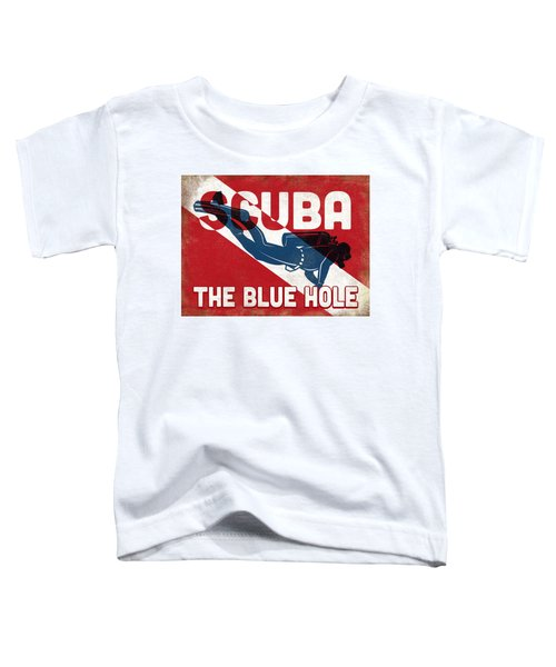The Blue Hole Scuba Diver - Blue Retro Toddler T-Shirt