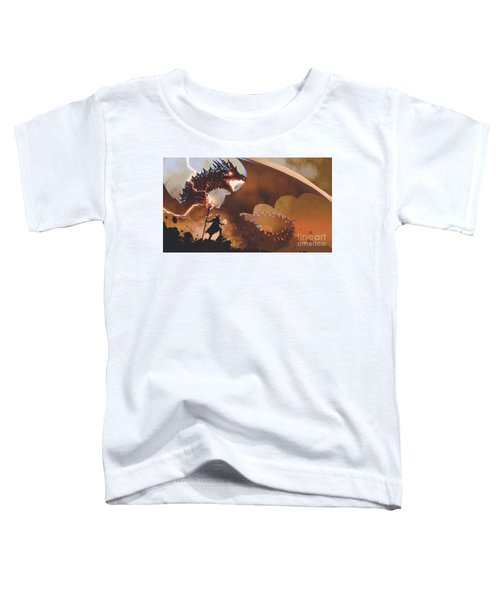 Toddler T-Shirt featuring the painting The Dragon Wizard by Tithi Luadthong