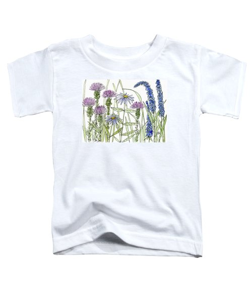 Thistle Asters Blue Flower Watercolor Wildflower Toddler T-Shirt