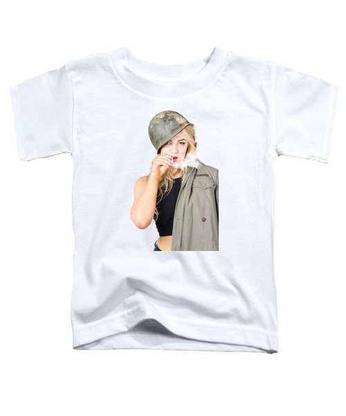 Tough And Determined Female Pin-up Soldier Smoking Toddler T-Shirt
