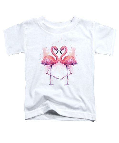 Two Flamingos In Love Watercolor Toddler T-Shirt