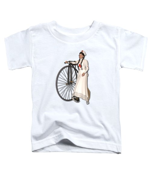 Victorian Nurse Along Penny Farthing Bicycle Toddler T-Shirt