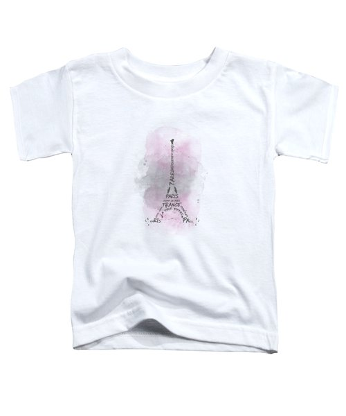 Watercolor Art Eiffel Tower - Pink Toddler T-Shirt