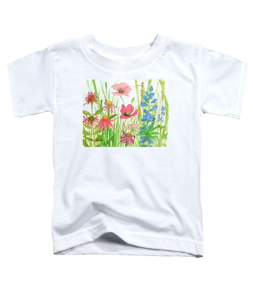 Watercolor Touch Of Blue Flowers Toddler T-Shirt