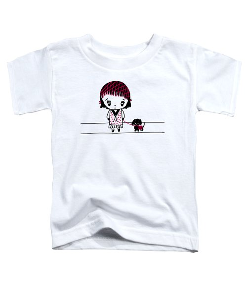 Whimsy Girl And Dog In Black And Red Toddler T-Shirt