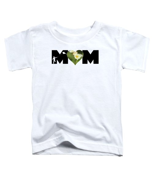 White Cosmos In Heart With Little Boy Mom Big Letter Toddler T-Shirt