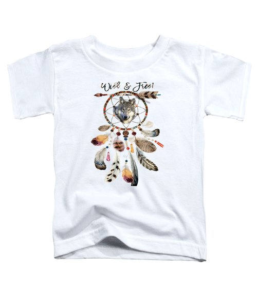 Toddler T-Shirt featuring the mixed media Wild And Free Wolf Spirit Dreamcatcher by Georgeta Blanaru