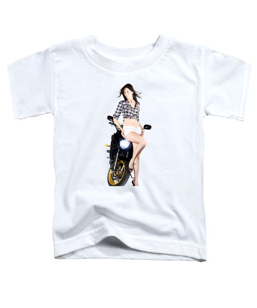 Woman Leaning On A Motorbike Toddler T-Shirt