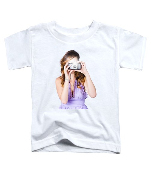 Woman With Camera On White Background Toddler T-Shirt