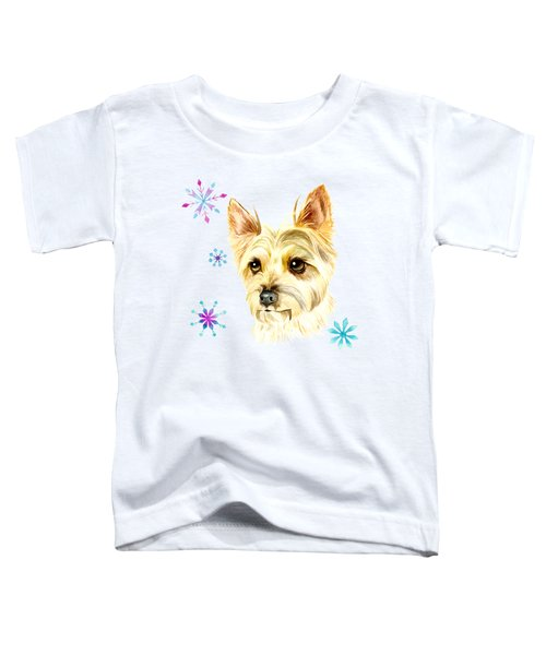 Yorkie Dog And Snowflakes Toddler T-Shirt