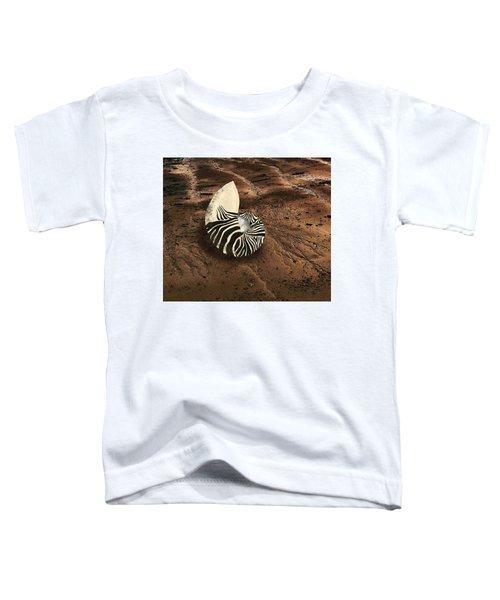 Zebra Nautilus Shell On The Sand Toddler T-Shirt