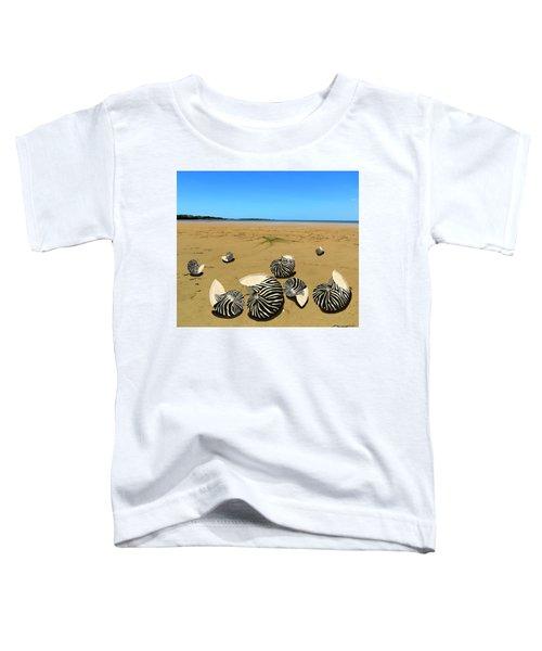 Zebra Nautilus Shells On The Beach  Toddler T-Shirt
