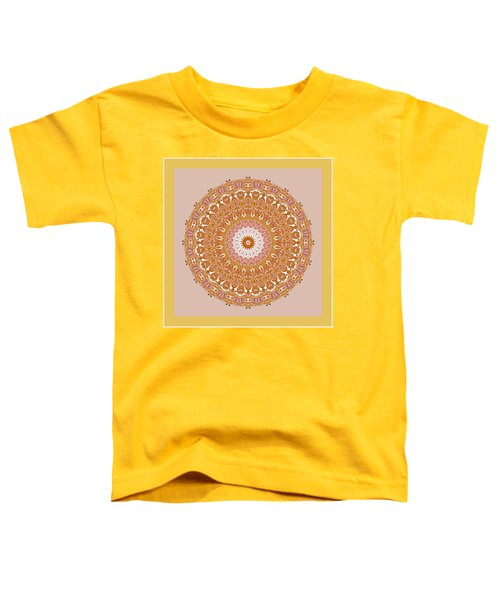 Toddler T-Shirt featuring the digital art Chinese Kite Mandala Yellow Orange by Joy McKenzie