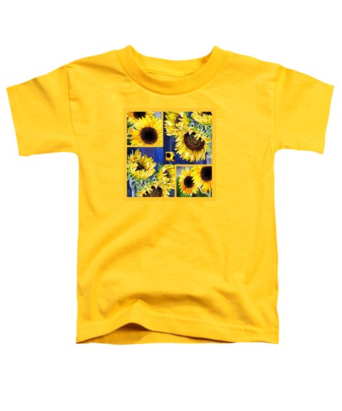 Toddler T-Shirt featuring the painting Sunflowers Sunny Collage by Irina Sztukowski
