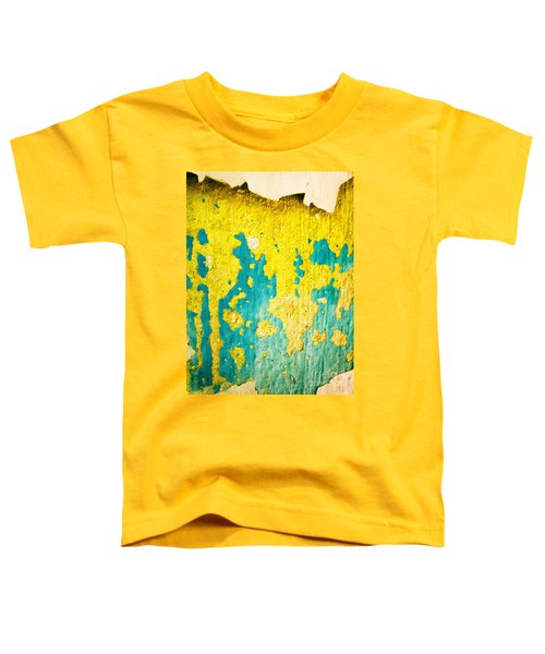 Toddler T-Shirt featuring the photograph Yellow And Green Abstract Wall by Silvia Ganora