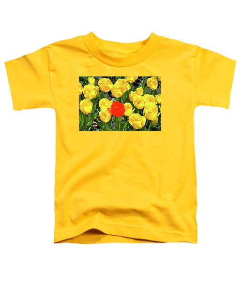 Yellow And One Red Tulip Toddler T-Shirt