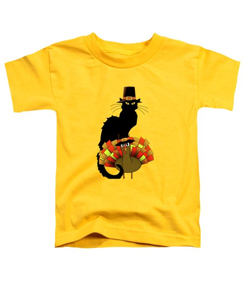 Thanksgiving Le Chat Noir With Turkey Pilgrim Toddler T-Shirt by Gravityx9   Designs