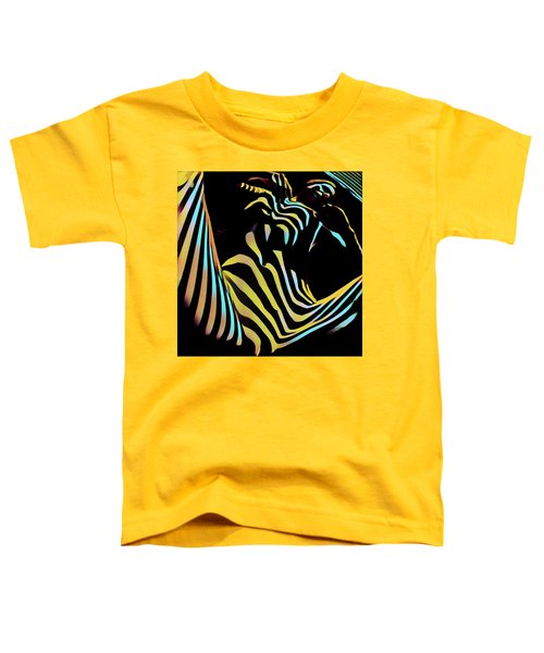 1149s-ak Dramatic Zebra Striped Woman Rendered In Composition Style Toddler T-Shirt