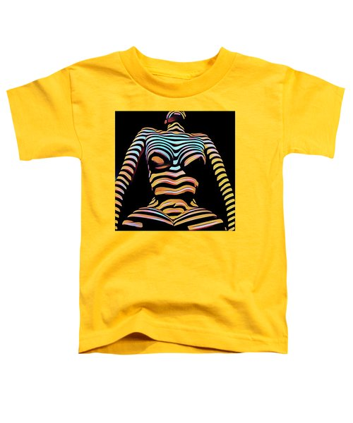 1205s-mak Seated Figure Zebra Striped Nude Rendered In Composition Style Toddler T-Shirt
