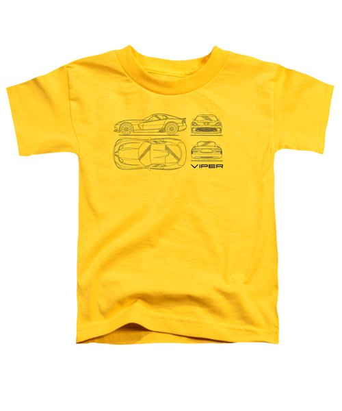 Srt Viper Blueprint Toddler T-Shirt by Mark Rogan