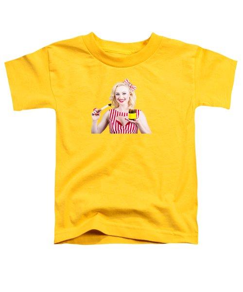 Australian Pinup Woman Holding Sandwich Spread Toddler T-Shirt