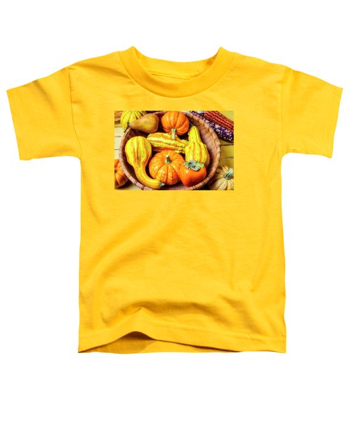 Basket Of Autumn Gourds And Fruits Toddler T-Shirt