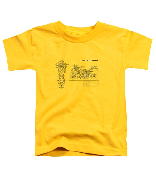 Blueprint Of A S1000rr Motorcycle Toddler T-Shirt by Mark Rogan