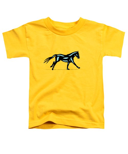 Clementine - Pop Art Horse - Black, Island Paradise Blue, Primrose Yellow Toddler T-Shirt by Manuel Sueess