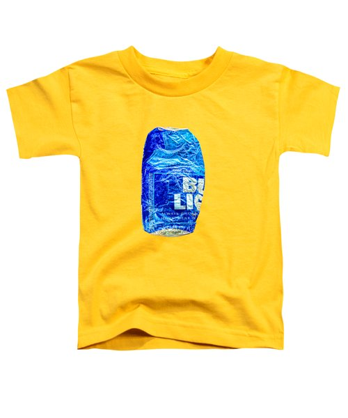 Crushed Blue Beer Can On Plywood Toddler T-Shirt