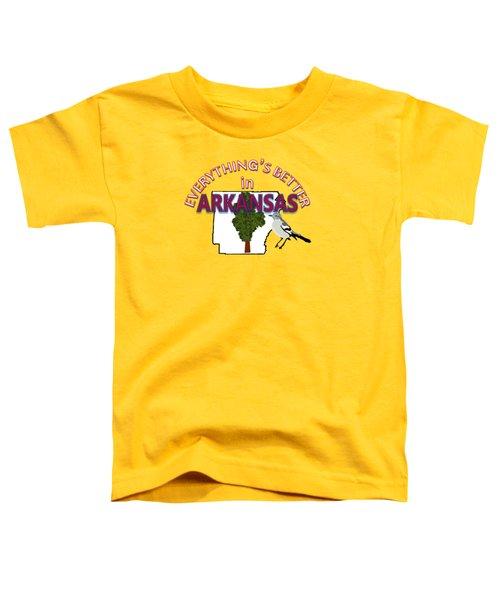 Everything's Better In Arkansas Toddler T-Shirt by Pharris Art