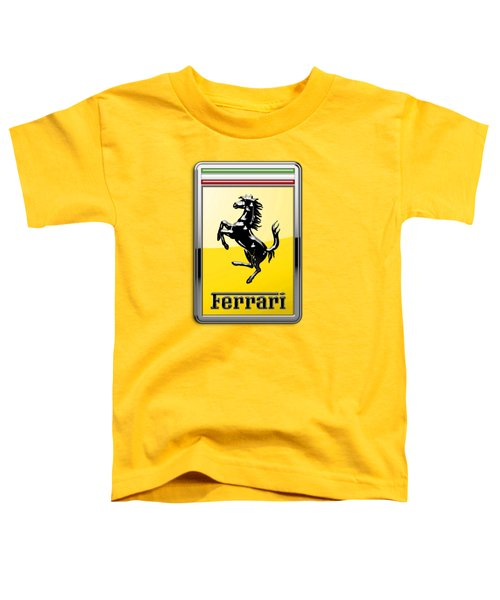 Ferrari 3d Badge- Hood Ornament On Yellow Toddler T-Shirt