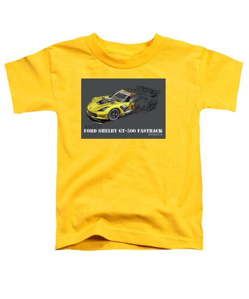Ford Shelby Gt500 Fastback, Yellow And Black Sketch Toddler T-Shirt