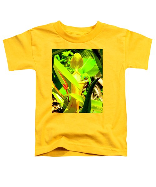 Gecko On Mosquito Catcher Orchid Toddler T-Shirt