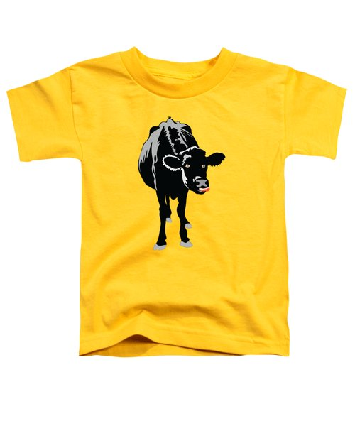 Goofy Looking Black Cow Licks Her Nose Toddler T-Shirt