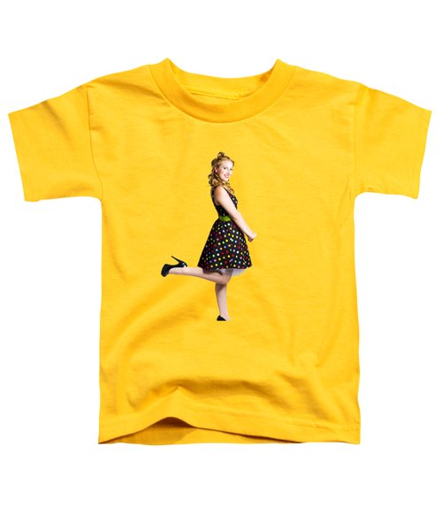 Happy Woman In Retro Dress Toddler T-Shirt