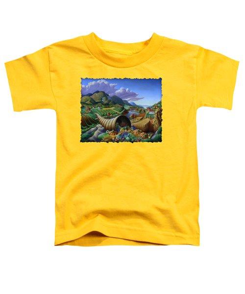 Horn Of Plenty - Cornucopia - Autumn Thanksgiving Harvest Landscape Oil Painting - Food Abundance Toddler T-Shirt by Walt Curlee