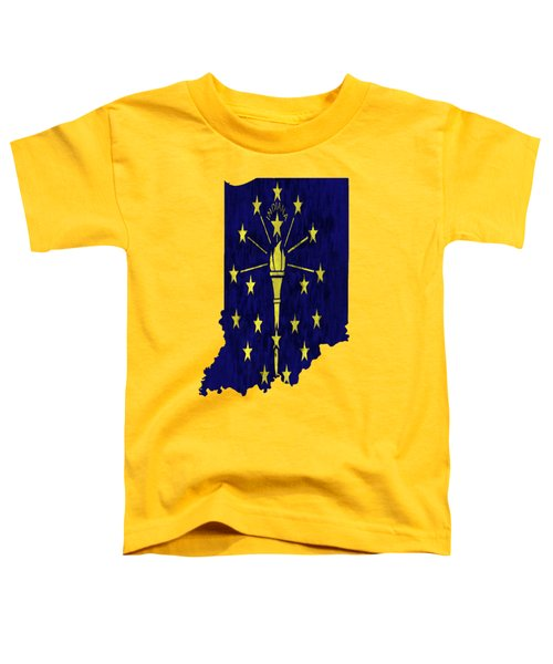 Indiana Map Art With Flag Design Toddler T-Shirt