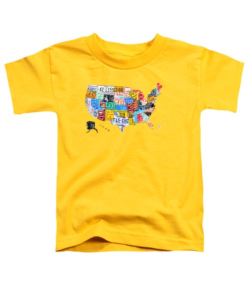 License Plate Art Map Of The United States On Yellow Board Toddler T-Shirt by Design Turnpike